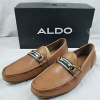 New Aldo Men's Brown Leather Slip On Omemee Dress Loafer Shoe Size 10, $110 MSRP