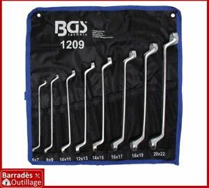 Jeu de 8 clés polygonales doubles longues à oeil - 12 pans - Tailles : 6 à 22 mm