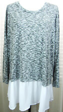 BOBEAU Nordstroms New With Tags Size 2X Lt.Wt. Sweater Top Chiffon Hem
