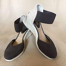 Ralph Lauren Women's Shoes Charla Brown Elastic Wedge Espadrilles Sz 6.5