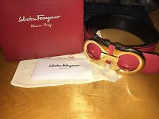 Salvatore Ferragamo Black/Red Reversible Big Buckle Belt Size 110cm 38/40