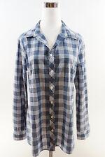 BANANA REPUBLIC Long Sleeve Cotton Soft Wash Button Down Check Shirt Blue Size L
