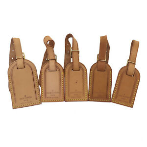 LOUIS VUITTON Used Name Tag 5 Set Brown Leather Vintage Authentic #BD441 O