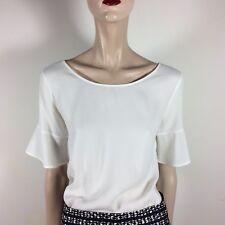 MASSIMO DUTTI Damen Bluse M 38 Weiß Oberteil Top Shirt Bell Sleeves Cut Out Back