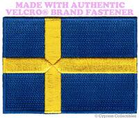 SWEDISH FLAG PATCH SWEDEN EMBROIDERED APPLIQUE Sverige w/ VELCRO® Brand Fastener
