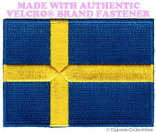SWEDISH FLAG PATCH SWEDEN EMBROIDERED APPLIQUE Sverige w/ VELCRO® Brand Fastener