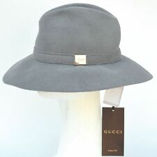 GUCCI New sz M Authentic Designer Womens Rabbit Fur Wide Brim Hat gray 6bbe081c713