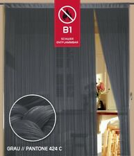 Fadenvorhang 150 cm x 300 cm (B x H) Farbe Grau in B1 schwer entflammbar
