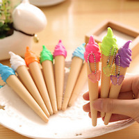 6pcs Creative Cute Ice cream Shape Gel Ink Ballpoint Pen Office School Gift new