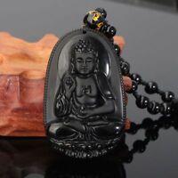 Moda Amuleto Bendición Negro Tallado Collar Colgante De Buda Obsidiana