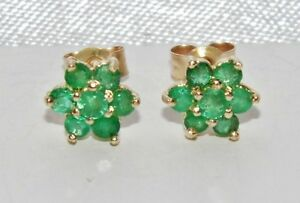 9ct Yellow Gold Emerald Ladies Cluster Stud Earrings -