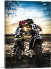 ARTCANVAS Dirt Bike Motocross Couple Biker Girl Canvas Art Print