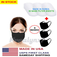Made In USA Face Mask 3 Pk + Made In Korea Protect Filter 30 Sheets - IN STOCK