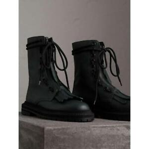 BURBERRY Fringe Detail Leather Kiltie Boots in Green Size 37 EU