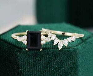 2.29 Ct Emerald Cut Black Onyx Art Deco Bridal Engagement Ring Set 925 Silver