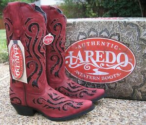 NEW Ladies Laredo Wild Thang Red Leather Sequins Western Cowboy Boots 52195