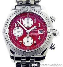 Breitling Chronomat Evolution A1335611/K508 Steel Red Dial Chronograph B&P