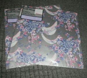Lot of 2 Packs of Shower Wedding Gift Wrap Floral Design Total of 6 Sheets New