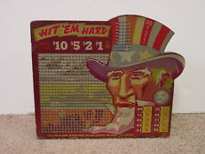 """Pin-up  Punch Board Die Cut """" HIT EM HARD """" Uncle Sam WWII"""