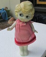 "Antique Bisque Doll C1930 Blonde w/Side Glanze Blue Eyes Handmade Dress 7"" Japan"