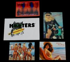 Vtg Hooters Birthday Card 4 Sexy Post Cards Bikini Bootie Biker Beach Volleyball