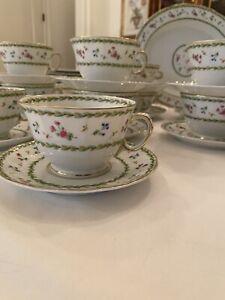 Bernardaud Limoges Artois Vert Green Versailles Tea Cup Saucer (8  Available)