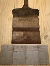Antiqu 19th Century leather wallet signed 1828 & Memorandum of Gold Bullion 1852