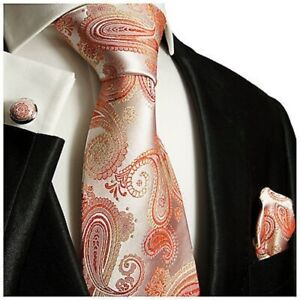 Coral Paisley Silk Necktie Set by Paul Malone