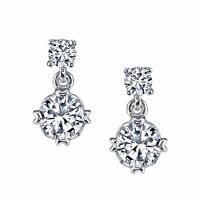 Minxwinx Sterling Silver Drop Dangle Solitaire Stud CZ Earrings Cubic Zirconias