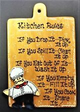 FAT CHEF KITCHEN RULES SIGN Wall Art Hanger Plaque Cucina Bistro Decor