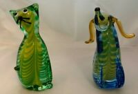 """Vintage Murano JIco Glass Cat and Dog 6 3/4""""T 3 Color Ground & Polished Bottoms"""