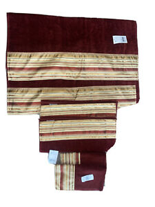 New Set of 6 Avanti  Bath Towels Hand And Fingertips Stripes Red