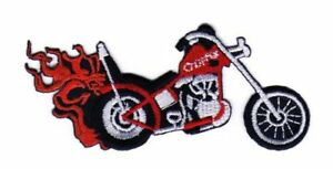 Ab98 Chopper Red Motorcycle Biker Sew-On Iron-On Patch Flames 4 5/16x2in
