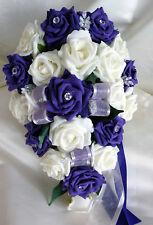 BRIDES TEARDROP BOUQUET , Wedding Flowers Ivory & purple roses with diamante