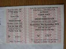 08/09/1971 Ticket: York City v Maiddlesbrough [Football League Cup] (complete, u