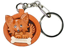 Chihuahua Longhair 3D Leather Dog plate Keychain *Vanca* Made in Japan #26526