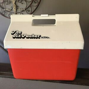 Vintage The Six Packer Thermos Cooler No 7714 Red White Camping Picnic Boating