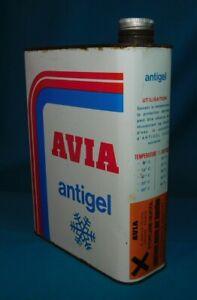 ANCIEN BIDON HUILE 2L .  AVIA ANTIGEL PINGOUIN . OIL CAN MOTOR BIDON VIDE
