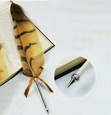 1 PC Stainless Steel Owl Feather Quill BallPoint Pen Ball-Point Pen Nice Gift