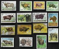 15 ALL DIFFERENT BUFFFALO & BISON  ON STAMPS