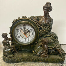 Greek Goddess Cherub Kids Figurine Crosa Quartz Mantle Clock Montre Avec Le Beau