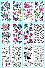 US Seller, 10 sheets waterproof tatoo women butterfly rose b34-2nb17