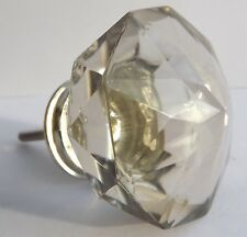 LARGE CLEAR CRYSTAL GLASS VINTAGE STYLE SHABBY CHIC DRAWER DOOR PULL KNOB HANDLE
