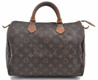 Authentic Louis Vuitton Monogram Speedy 30 Hand Bag M41526 LV B4654