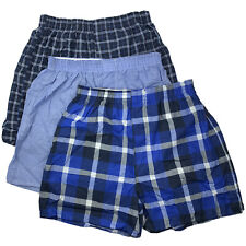 Fruit of the Loom Boys Blue Plaid Boxer Shorts 3-Pack XL