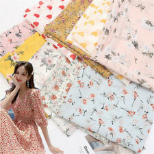 Vintage Soft Chiffon Fabric Printed Floral Dress Costume Scarf Diy 100x150cm Sew