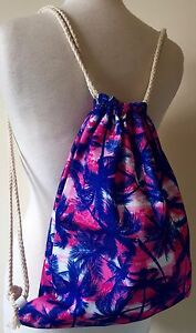 BNWT Blue & Pink Tropical Palm Tree Print Cute Drawstring Backpack Rucksack Bag