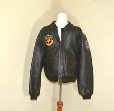 Vintage Vietnam Era Avirex A2 Brown Leather Bomber Jacket USAF w/ Patches Sz M