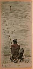 Dessin Original LUBIN DE BEAUVAIS XIXe - Ouverture de la pêche  Art Nouveau LB38