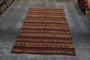 Antique Afghan Hand Woven Tribal Ghajaree Kilim Rug 9'3 x 6 Ft